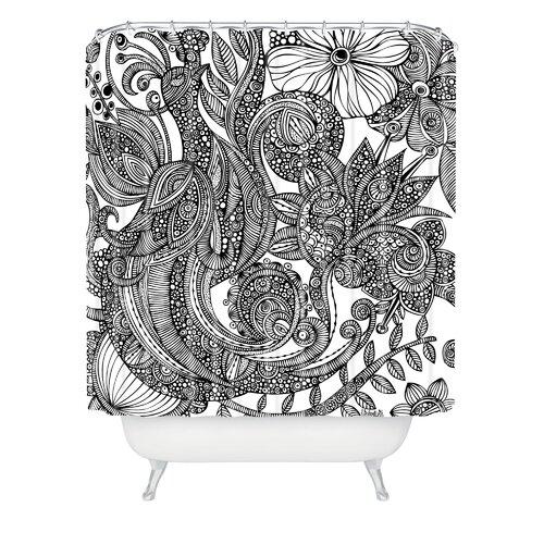 Valentina Ramos Woven Polyester Bird in Flowers Shower Curtain