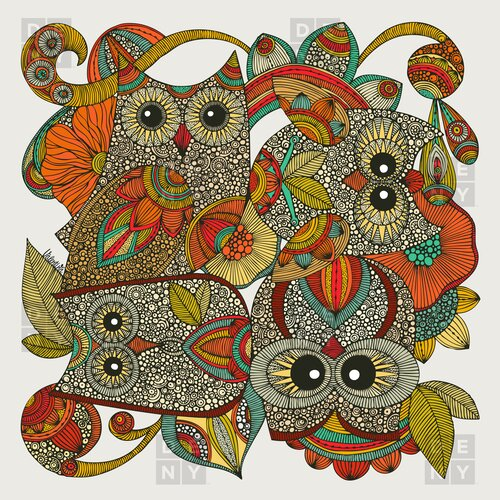 DENY Designs Valentina Ramos Polyester 4 Owls Shower Curtain