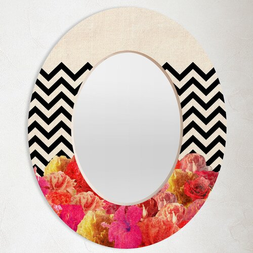 Bianca Green Chevron Flora 2 Oval Mirror