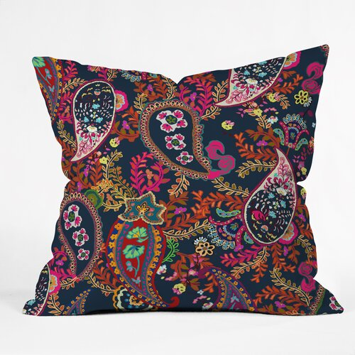 Rachelle Roberts Boho Paisley Outdoor Throw Pillow