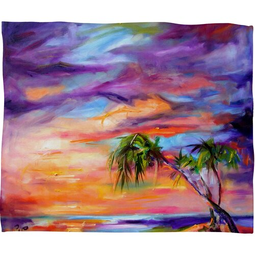 Ginette Fine Art Florida Palms Beach Polyester Fleece Throw Blanket