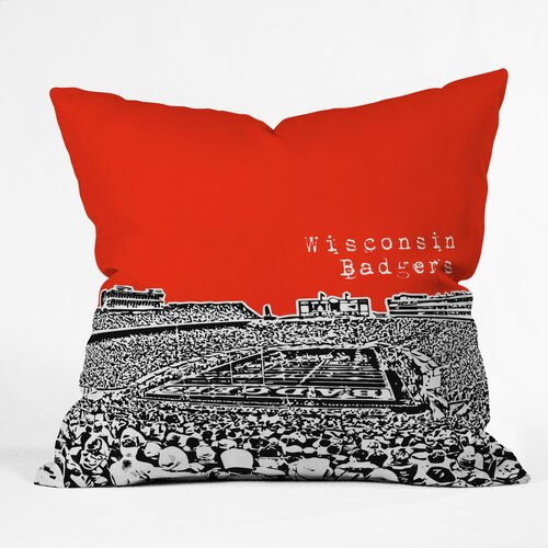 DENY Designs Bird Ave Wisconsin Badgers Woven Polyester Throw Pillow