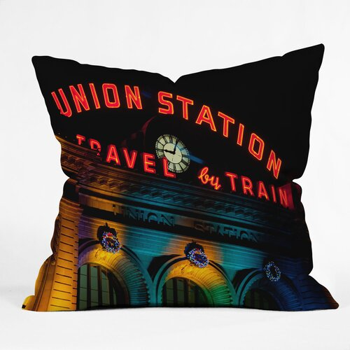 Bird Wanna Whistle Union Station Woven Polyester Throw Pillow
