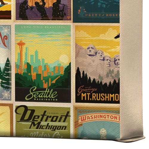 DENY Designs City Pattern Border by Anderson Design Group Vintage Advertisement on Canvas