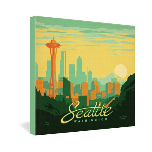 Seattle by Anderson Design Group Vintage Advertisement on Canvas