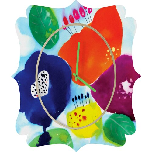 DENY Designs CayenaBlanca Big Flowers Wall Clock