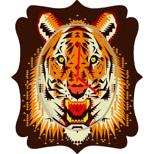DENY Designs Chobopop Geometric Tiger Wall Clock