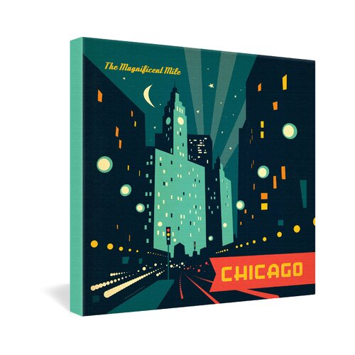 DENY Designs Chicago Mag Mile by Anderson Design Group Vintage Advertisement on Canvas