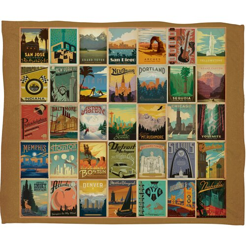 DENY Designs Anderson Design Group City Pattern Border Polyester Fleece  Throw Blanket