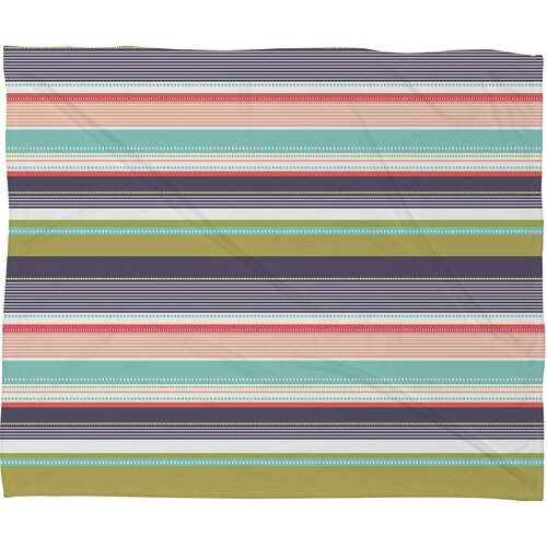Wendy Kendall Multi Stripe Polyester Fleece Throw Blanket