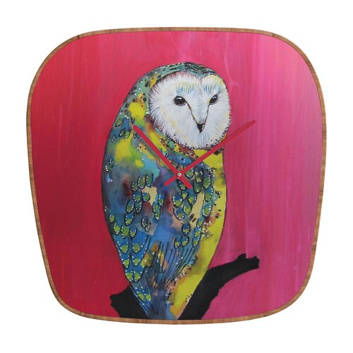 DENY Designs Clara Nilles Owl On Lipstick Wall Clock