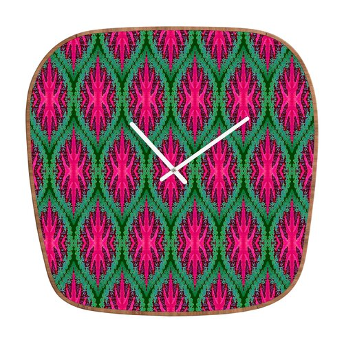 DENY Designs Wagner Campelo Ikat Leaves Wall Clock