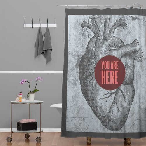DENY Designs Wesley Bird Polyester You Are Here Shower Curtain