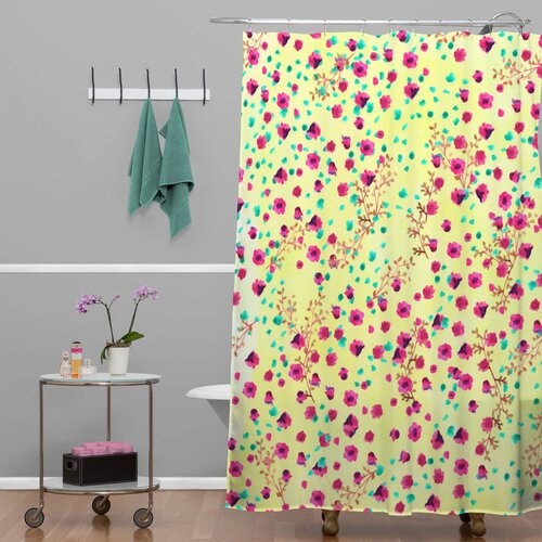 DENY Designs Joy Laforme Woven Polyester Wind Swept Floral Shower Curtain