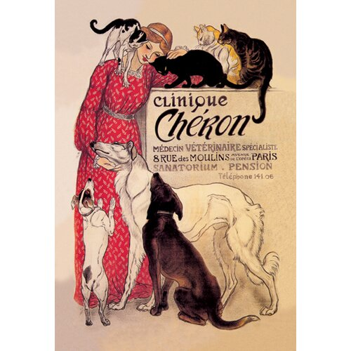 Buyenlarge Clinique Cheron Veterinary Medicine and Hotel by Steinlen Vintage Advertisement on Canvas