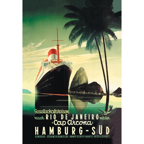 Buyenlarge Hamburg to Rio de Janeiro on the Cap Arcona Steamship Vintage Advertisement on Canvas
