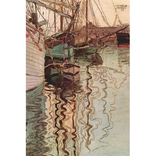 Buyenlarge Sailboats in Wollenbewegten Water by Egon Schiele Painting Print on Canvas