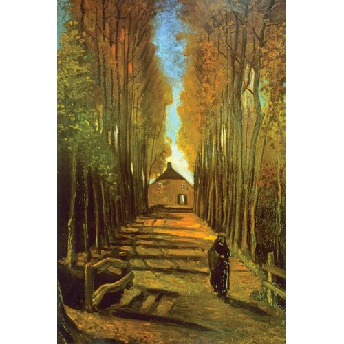 Buyenlarge Autumn Tree Lane Painting Print on Canvas