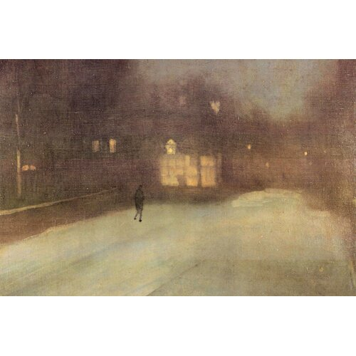 Buyenlarge Nocturne, Snow in Chelsea Painting Print on Canvas in Gray and Gold