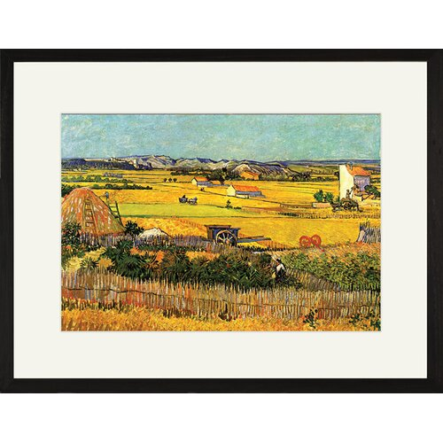 Buyenlarge Harvest at La Crau with Montmajour in the Background Framed Painting Print