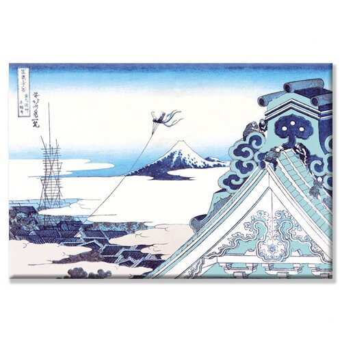Kite Flying in View of Mount Fuji by Katsushika Hokusai Painting Print on Canvas