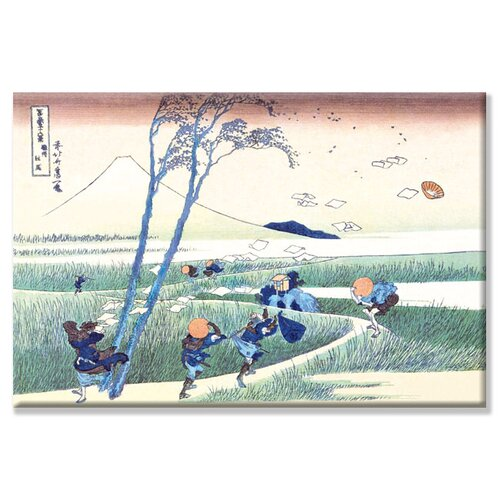 Wind Buffets Travelers Mount Fuji by Katsushika Hokusai Painting Print on Canvas
