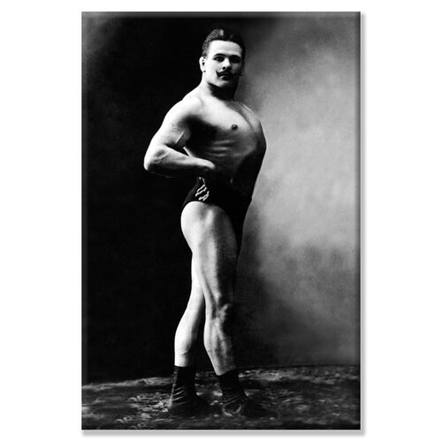 Buyenlarge Bodybuilder's Shadowed Front and Right Profile Photographic Print on Canvas