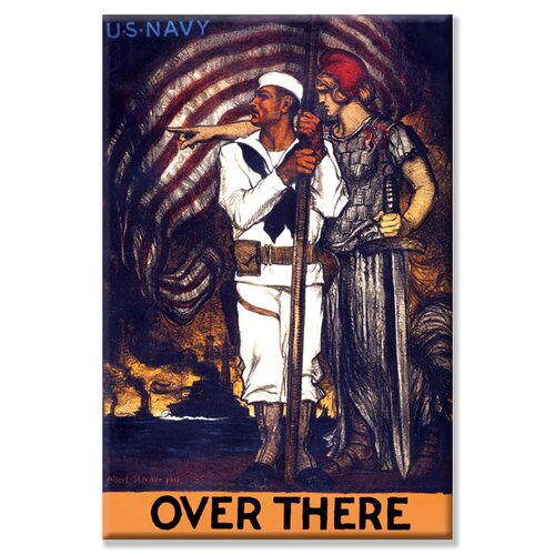 Buyenlarge Over there - U.S. Navy Vintage Advertisement on Canvas