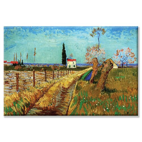 Buyenlarge Path Through a Field with Willows Painting Print on Canvas