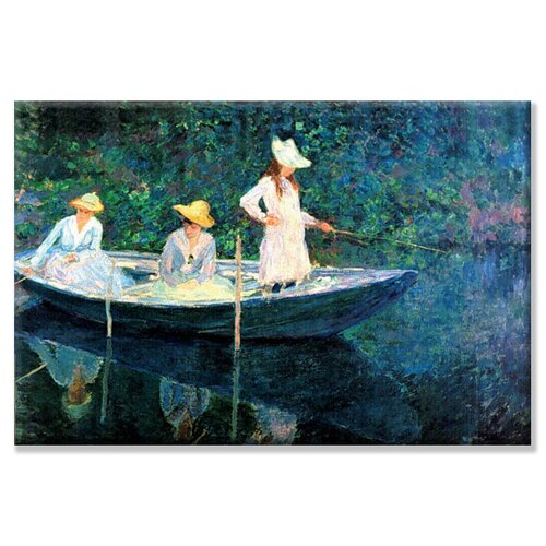 Buyenlarge Women Fishing by Monet Painting Print on Canvas