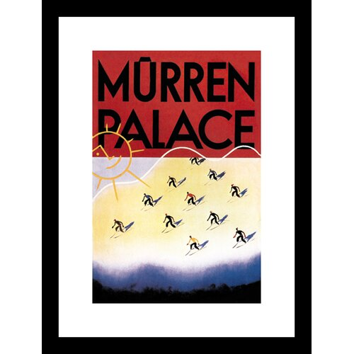 Buyenlarge Murren Palace Skiing at Sunset Framed Vintage Advertisement