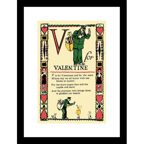 Buyenlarge V for Valentine Framed Vintage Advertisement