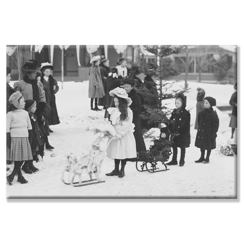 Midwinter Carnival, Children's Parade, Doll Sleds Photographic Print on Canvas