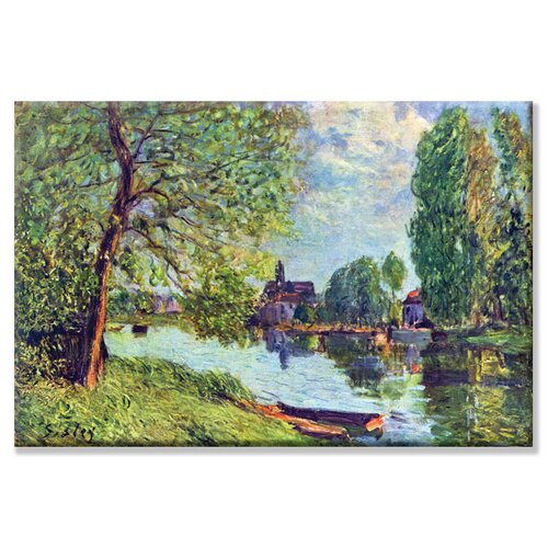 River Landscape at Moret sur Loing Painting Print on Canvas