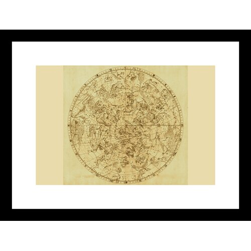 Buyenlarge Celestial Map of the Mythological Heavens with Zodiacal Characters Framed Graphic Art