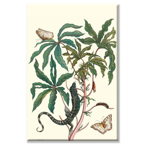 Peacock Butterfly with a Lizard Graphic Art on Canvas