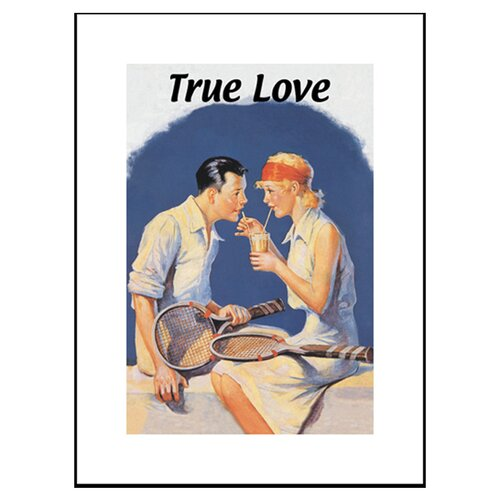 True Love Sharing a Milkshake after Tennis Framed Vintage Advertisement