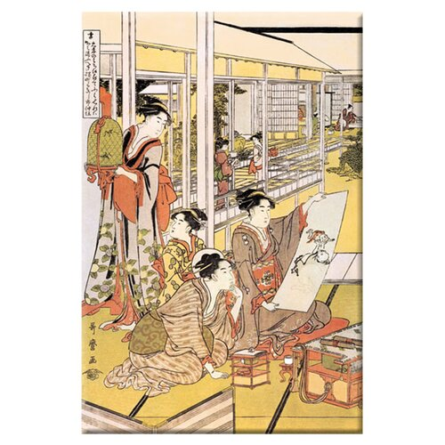 Buyenlarge Painting in the House by Kitigawa Utamaro Painting Print on Canvas