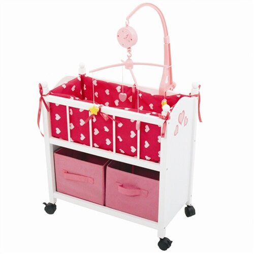 The New York Doll Collection Wooden Doll Baby Crib with Mobile