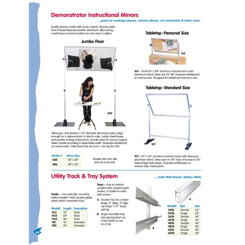 Testrite Demonstrator Instructional Mirror - Tabletop/Personal Size 1.33' x 2' Glass Board