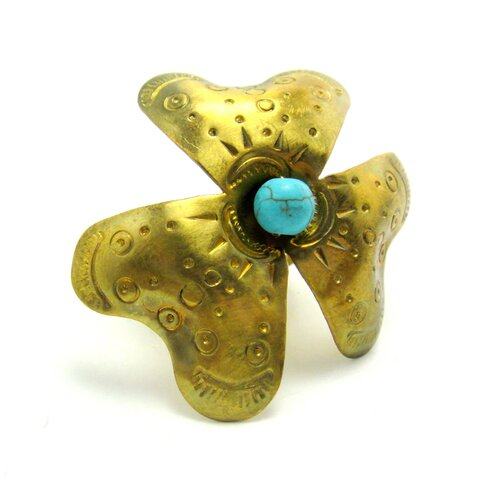 WNK International Brass Turquoise Bead Flower Ring
