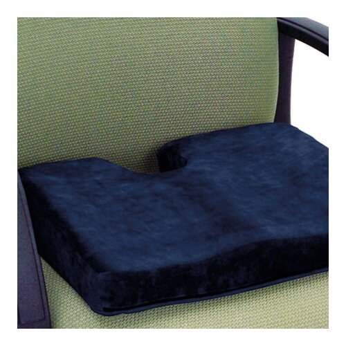 Essential Medical Memory PF Sculpture Comfort Seat Cushion with Cut Out in Navy