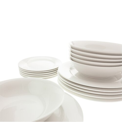 White Basics European 18 Piece Dinnerware Set