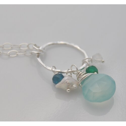 AEB Designs Gemstone Sterling Silver Aqua Chalcedony Cluster Necklace