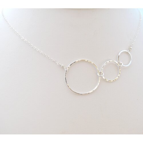 AEB Designs Sterling Silver Asymmetrical Fine Silver Ring Necklace