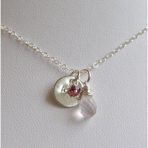 Rose Quartz, Pink Tourmaline and a Hand Stamped Sterling Silver Necklace