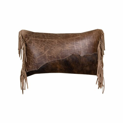 Wooded River Accessory Pillows Butte Leather Flap and Butte Leather Fringe Pillow