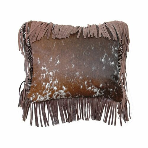 Accessory Pillows Speckled Hair on Hide Fargo Leather Fringe Pillow