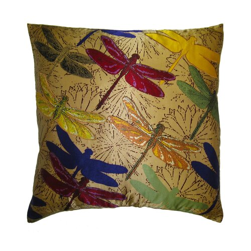 Flower Power Dragonfly Silk Pillow
