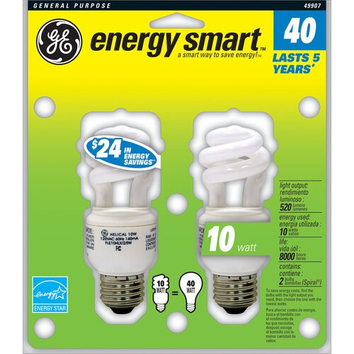 GE 10W (2700K) Fluorescent Light Bulb (Pack of 2)